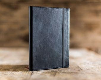 Daily planner 2018, leather planner, black leather A5 daily planner 2018, agenda 2018 handmade in black leather, 2018 planner luxury gift
