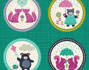 FREE GIFT with Purchase - Andover/Makower Windy Day/Teal Circles/Cotton/Fabric/Sewing/Quilting