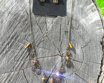 Crazy cat lady necklace and earring set