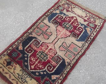 Oushak Rug,Vintage Small Rug,Hand Woven Old Small Oushak Office Pillow Rug, Home Living,1'8''x3'2''feet, Different motifs,Original Colors,