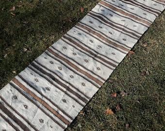 Embroidered Striped Ethnic Turkish Kilim Runner,Primitive Boho Turkish Hallway Rug,Eclectic Kitchen Runner,Organic Wool Rug 2'3''x9'7''feet,