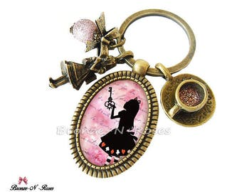 """Keyring """"Alice in Wonderland of"""" pink cabochon bronze girl costume jewelry"""