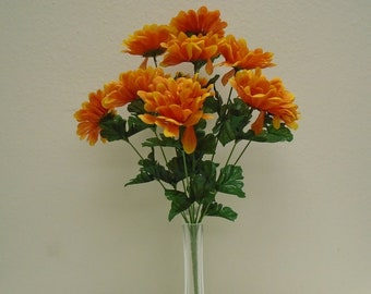 """2 Bushes Gerbera Daisy 10 Artificial Silk Flowers 18"""" Bouquet 82011"""