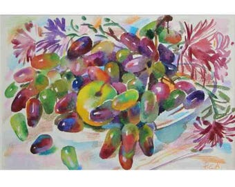 Watercolor painting, a small still-life,Grapes watercolor, fruit watercolor  21x30