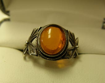 Antique Amber Sterling Silver Ring- Size 7