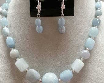 Blue Chalcedony Crystal Necklace and Earrings Set