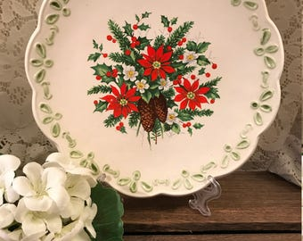 Vintage Holiday Winter Christmas Ceramic Plate - Poinsettia - Pine Cones - Holly