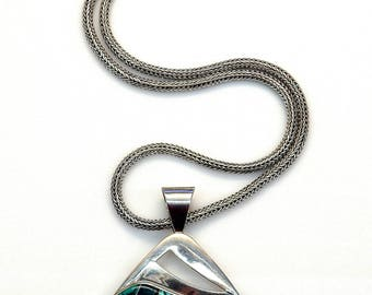 Sterling Silver Turquoise Mosaic Designed Pendant Spiga Chain Necklace