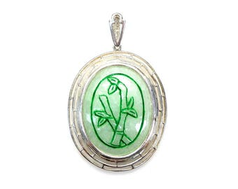 Sterling Silver Oval Shape Jade Bamboo Pendant