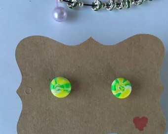 Polymer Clay, Stud Earrings, Green/yellow, round