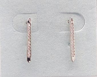 Sterling Silver CZ bar Studs