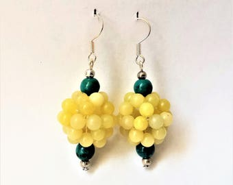 Yellow Serpentine and green chrysocolla gemstone dangle and drop earrings