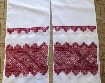 Lot of 2 Hand made embroidered RUSHNYK wedding Ukrainian towel SWANS RINGS #d328