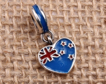 New Zealand Heart Flag Pendant Charm, 925 Sterling Silver & Enamel Charm Fits to all Pandora Charm Bracelets