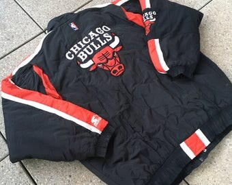 90s Chicago BULLS Jacket by STARTER Vintage NBA Basketball Hip Hop Jordan