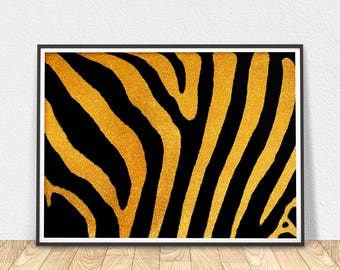 Black And Gold Zebra - Wall Art, Zebra Animal Print, Zebra Stripes Print, Gold Foil Digital, Fashion Art, Printable Art, Zebra Wall Art
