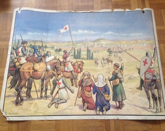 History of France poster - MDI - Jerusalem cross / farmers in the middle ages life - vintage