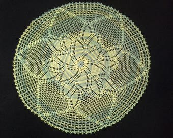 Crochet doily - Round doilies - Large doily - Rainbow doily - Home decor - Crochet doilies - Yellow doily - Green doily