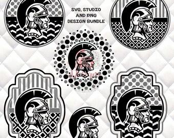Spartans, Trojans, Warriors Mascot -  SVG, Silhouette studio bundle - 6 design downloads