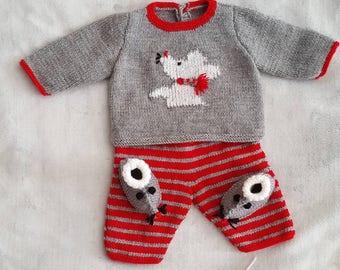 Set baby boy newborn sweater pants booties