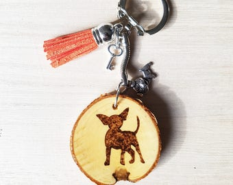 Chihuahua handmade wooden pyrographic keychain , dog , dogs