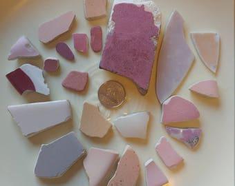 Pink Purple maroon Sea Pottery Genuine Surf Tumbled