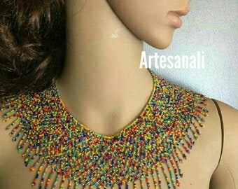Mexican Huichol choker necklace set With Earrings/