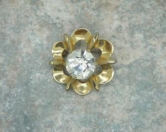 Vintage Floral Rhinestone Brooch, Vintage Goldtone and Rhinestone Brooch, Vintage Huge Rhinestone Brooch/Pin, 1960's Rhinestone Brooch
