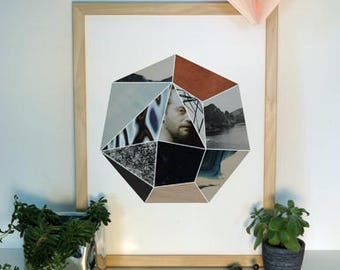 Geometric Collage Print Heptagon Face