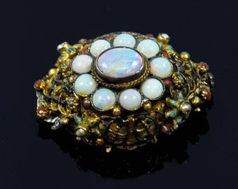 Antique Silver & Opal Brooch