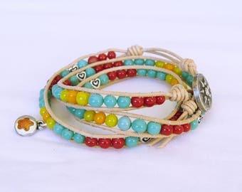 Wrap bracelet Bohemian leather turquoise coral orange yellow, turquoise wrap bracelet