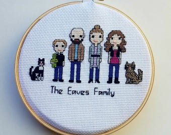 Personalized Family Portrait - Custom Handmade Cross Stitch People of Family, Parents, Kids, Pets and Friends - unique home decor gift