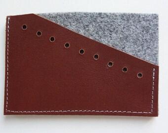 Wallet brown leather & felt