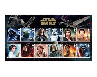 STAR WARS™ 2015 Character Stamp Set -  12 Special Stamps, presented on a Star Wars Presentation Card