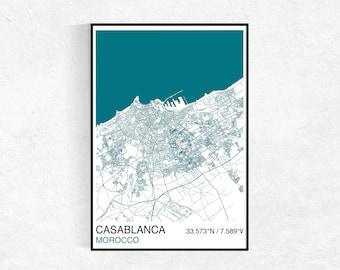 Casablanca City Map Print, Custom Map Print, Street Map, Casablanca, Morocco Map, Personalised Map Print, Map Wall Art, City Map Poster