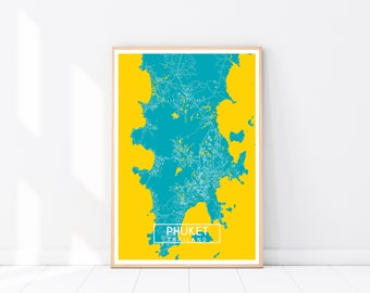Phuket Map Print, Custom Map Print, Map, Large Poster, Wall Art, Thailand Wall Art, Travel Poster, Phuket, Thailand, City Map Print