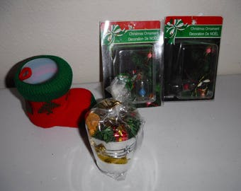 Christmas holiday ornaments: 2 glass bells, deco stocking & pail of presents