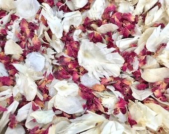Ivory & Burgundy   Real petal wedding confetti   Biodegradable and 100% natural   Wedding Throwing Confetti
