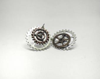 Gear Earrings| Drop Gear Earrings| Steampunk Jewelry| Multi Metal Jewelry| Unique gift