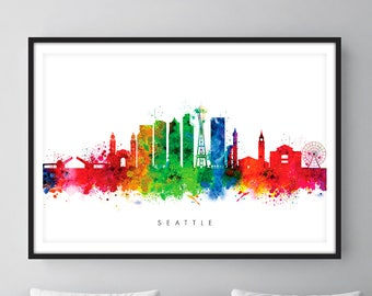 Seattle Skyline, Seattle Washington Cityscape Art Print, Wall Art, Watercolor, Watercolour Art Decor