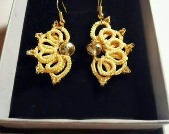 Yellow flower earrings tatting/ Unique/  Feminine Rarrings  for that Someone Special/ Tatting Jewelry/ Summer 2017/Stylish/ Filigree