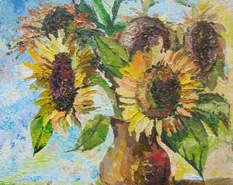 Original Sunflowers Painting Flowers still life  Original painting Acrylic Canvas art Wall decor Realism original artwork