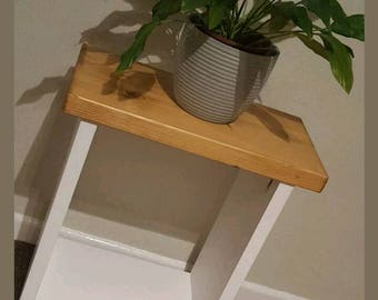 Solid Chunky Wood Two Tone Side Lamp Table