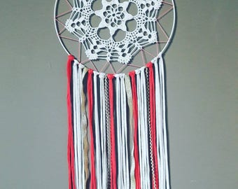 DreamCatcher Bohemian chic white, beige, coral and gold