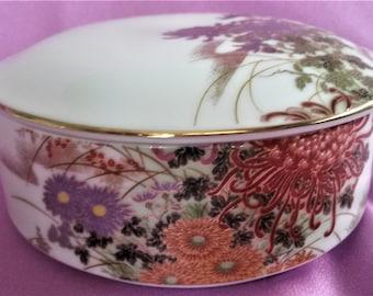 Vintage Porcelain Trinket Jewelry Box Floral Bird With Gold Gilt