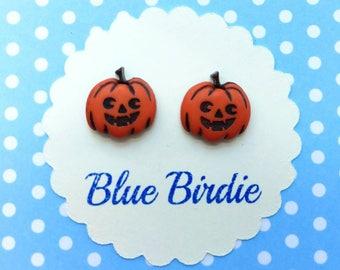 Pumpkin earrings Halloween earrings pumpkin jewellery pumpkin jewelry Jack o lantern earrings pumpkin stud earrings Halloween jewellery