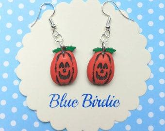 Pumpkin dangle earrings Halloween earrings pumpkin jewellery pumpkin jewelry Jack o lantern earrings pumpkin earrings Halloween jewelry