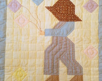 Hand Stitched Baby Quilt, Boy with Balloons