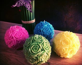 Set of 4 Candles / Set of Rose Pillar Candles  / 4 Pieces - Each Candle 3,5 Inches