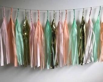 Fully Assembled Tassel Garland , Tissue tassel banner, Baby shower banner, Wedding garland, garland banner,